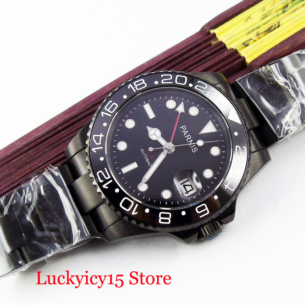 PARNIS Black Men's Watch Automatic Movement GMT Function Ceramic Bezel 40mm PVD Watch Case Mental Strap