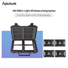 Aputure مصباح led بأربعة مصابيح ، صندوق شحن لاسلكي ، مجموعة إضاءة RGB ، تصوير ، فيديو ، صورة خارجية