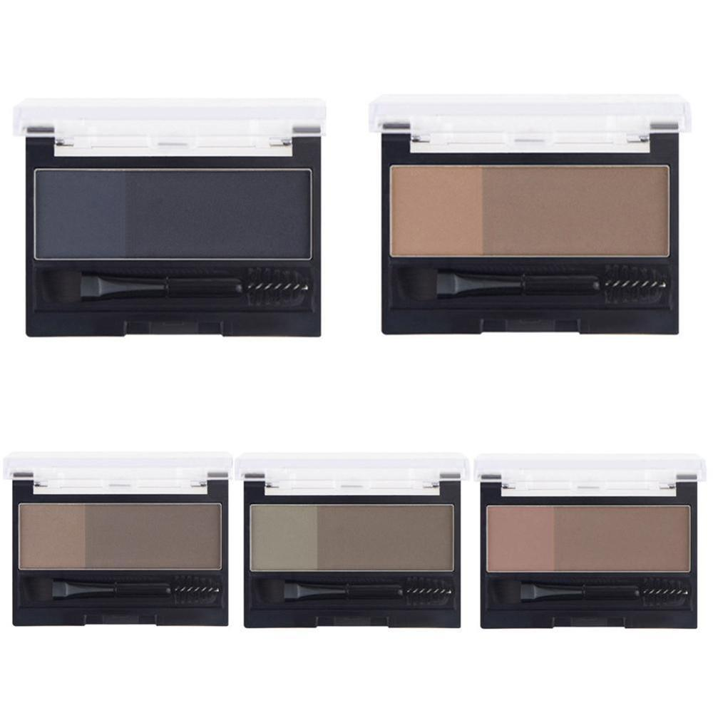 Double Color Eyebrow Powder Makeup Palette Natural Brown Eye Brow Enhancers 3D Eye Brows Shadow Cake Beauty Kit with Brush 4