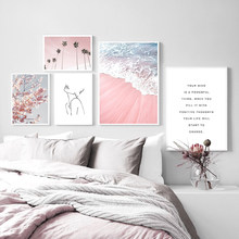 PiNK Beach Nordic Poster Abstract Wall Art Canvas Painting Quotes Pictures For Living Room Landscape Home Decor