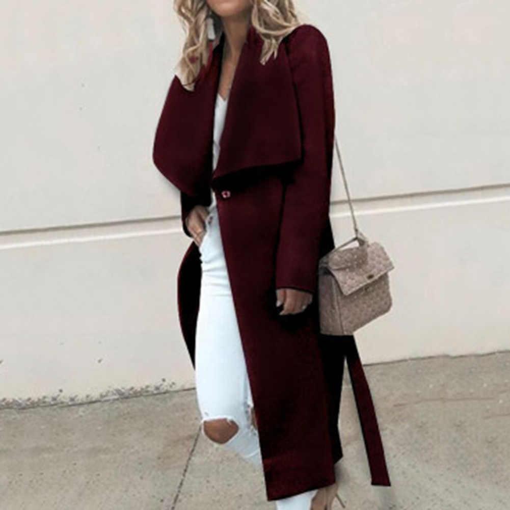 Zwart Roze Ruffle Warm Winter Jas Vrouwen Turndown Lange Jas Kraag Jas Vrouwelijke Casual Herfst Bovenkleding abrigo mujer пальто