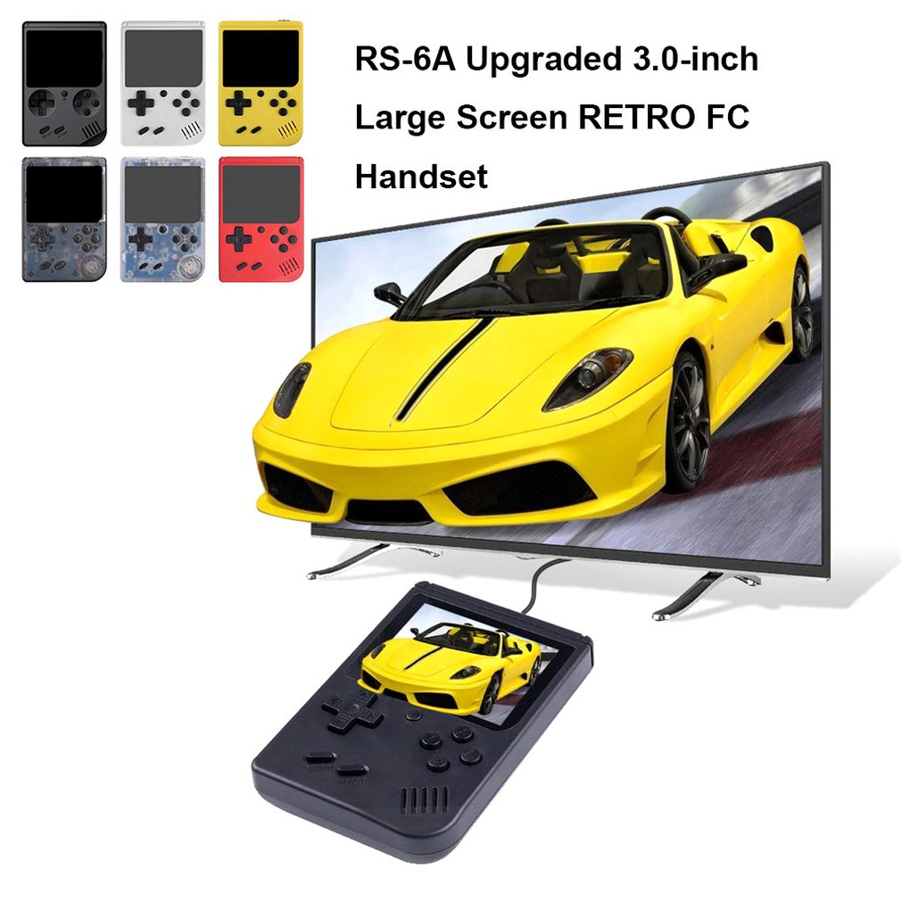 Interesting RS-6A 3 inch large screen RETRO FC handset Small Portable Gaming Console Classic Mini Handheld Retro Video Game FC