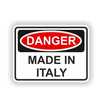 Personality MADE IN ITALY DANGER Warning Vinyl Car Stickers Decals Motorcycl Accessories PVC 15CM*11CM