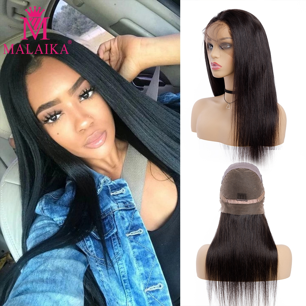 Straight 130 Density Glueless Full Lace Wigs Brazilian Pre Plucked Full Lace Human Hair Wigs With Baby Hair MALAIKA