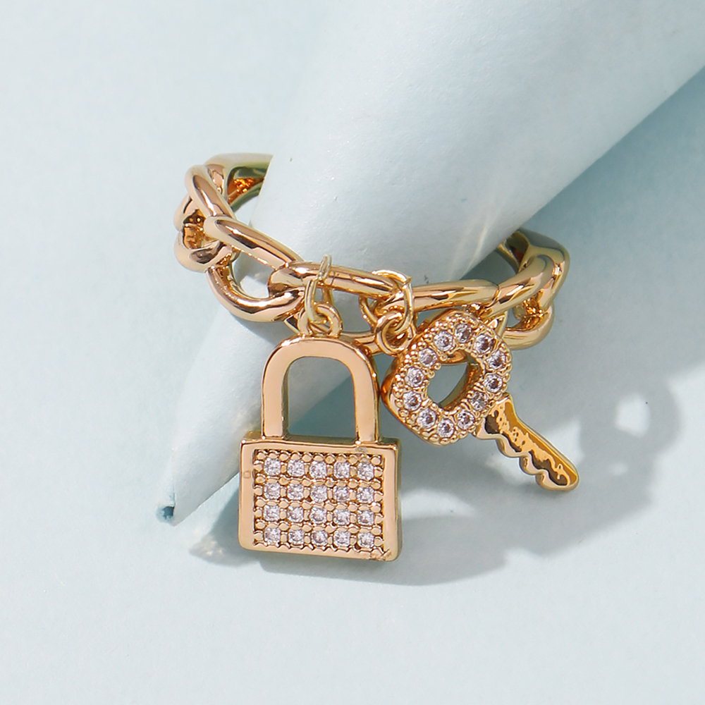 Lalynnly Simulated Rhinestone Key Lock Pendants Rings Gold Color Pendant Charm Rings For Modern Fashion Women Girl Gifts R0242