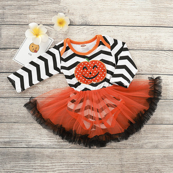 Halloween Costume Baby Pumpkin Romper with Tutu