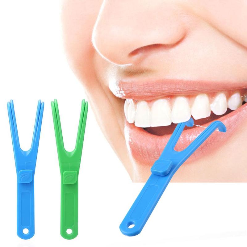 Dental Floss Flosser Y Shape Handle Interdental Teeth Cleaning Stick Tools Aid Oral Hygiene Toothpicks Cleaner Safety Oral Care(China)