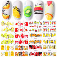 12pcs Of Nail Watermark Sticker Summer Fruit Water DecalsColorful Fruit Pattern Nail Art Decorations