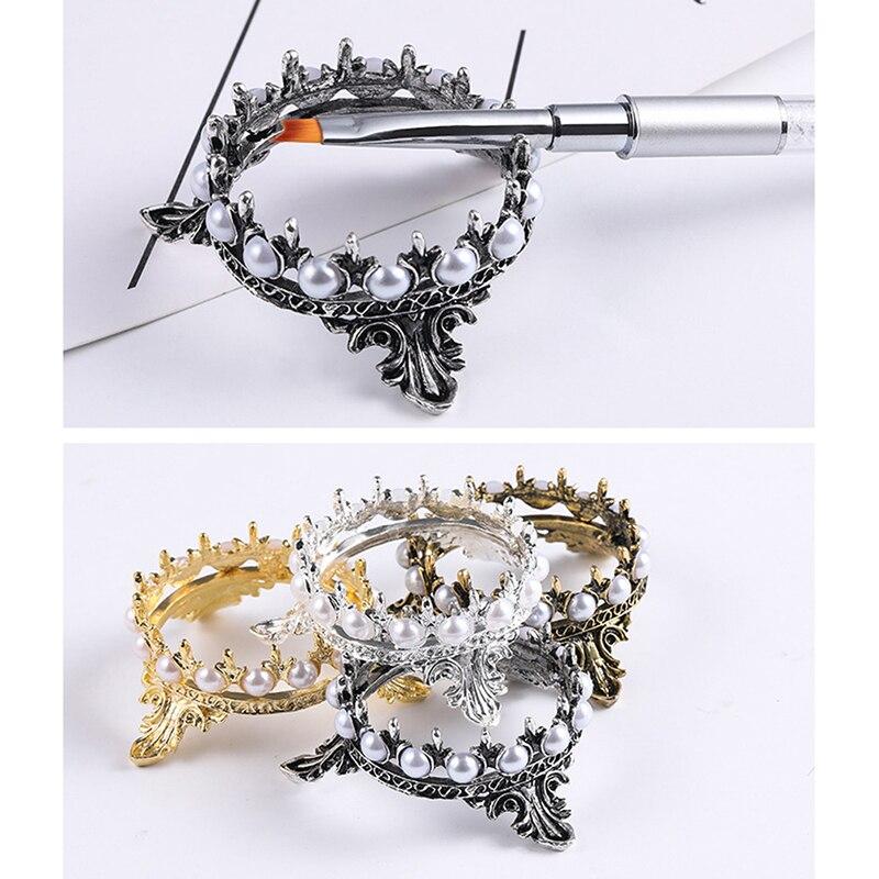 Винтажный дизайн короны, ручки для дизайна ногтей, подставка для кистей, подставка, украшение жемчугом, для салона, дома, сделай сам, для