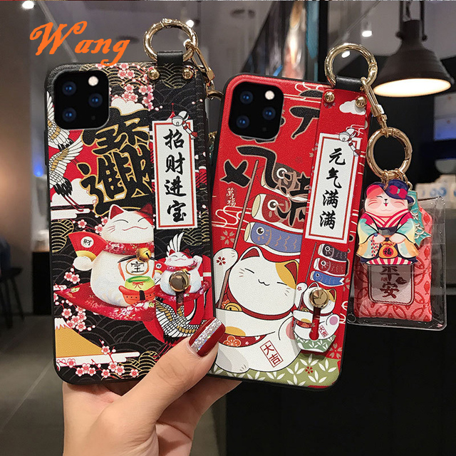 Lucky Cat Wrist Strap TPU Mobile Phone Case For Huawei P30 P40 Protective Cover For nova3 4 5 honor20pro Silicone Cases Shell