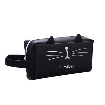 Large Pencil Silicone Cute School Supplies Stationery Gift Cartoon Cat Black White King Pencil Box Pencil Bag image