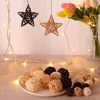 Bolas de mimbre con forma de corazón de enredadera Natural, accesorios de decoración de Navidad para el hogar, ornamento para árbol, suministros de fiesta, 10 Uds.