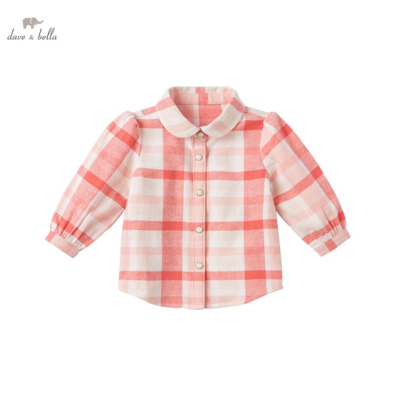 DB17355 нижнее белье в стиле бренда dave bella/модные весенние платья для маленьких девочек в клетку с принтом для младенцев, топы для малышей; Футболка; Детская одежда высокого качества|Блузки и рубашки| | АлиЭкспресс