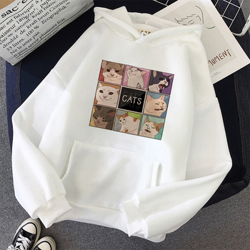 Korean style cute cut cat print pattern Harajuku casual fashion all-match hoodie women Kawaii oversized sweatshirt