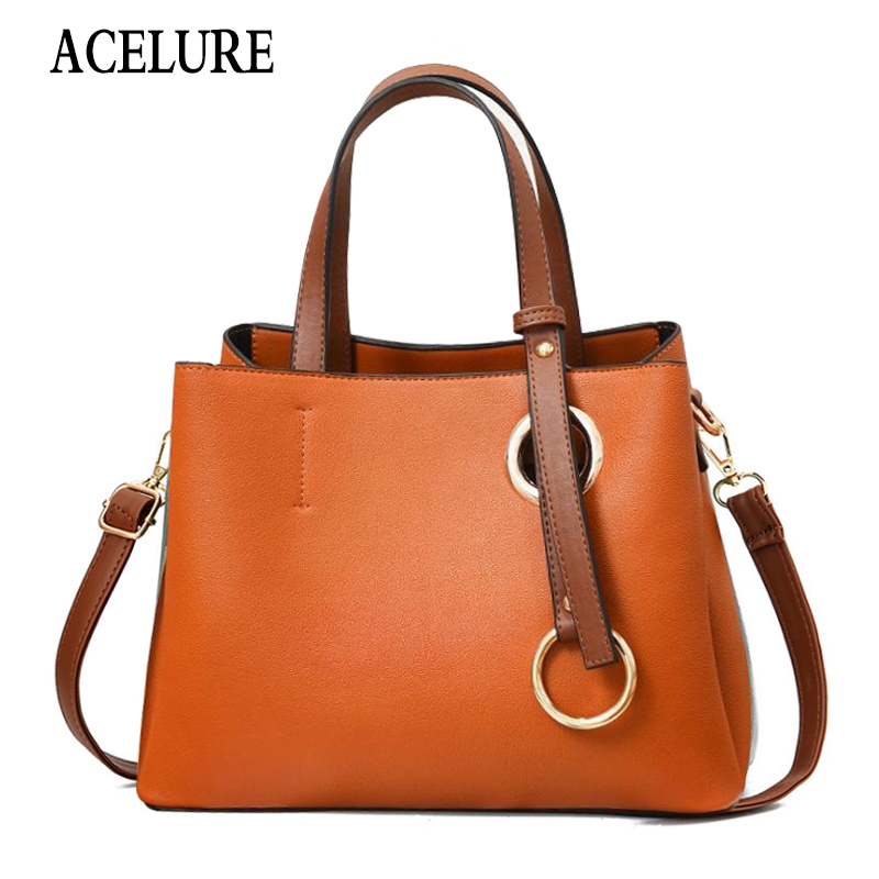 ACELURE Women Leather Bucket Luxury Handbags Designer Famous Brand Large Capacity Shopping Travel Shoulder Crossbody Women Bag