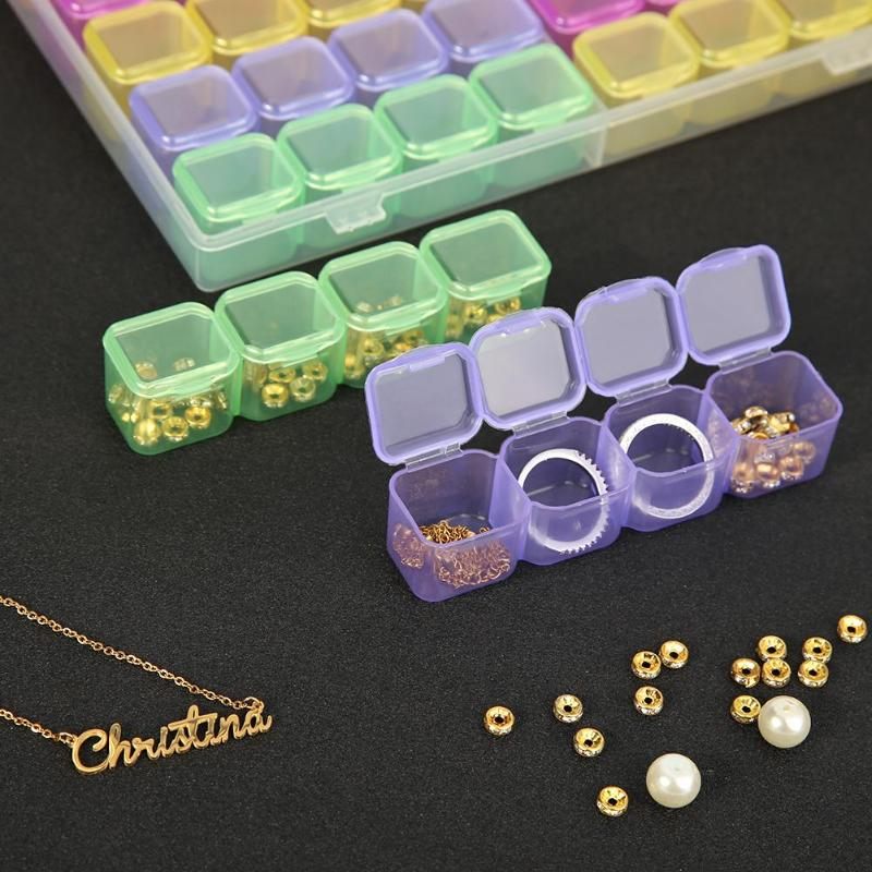 56 Grids Crystal Bead Jewelry Organizer Storage Case 5D DIY Diamond Embroidery Painting Drill Box Rhinestone Carrying Container