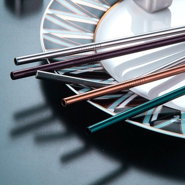 20 pièces en métal réutilisable 304 pailles en acier inoxydable droite plié paille à boire écologique avec brosse ensemble accessoire de barre de fête