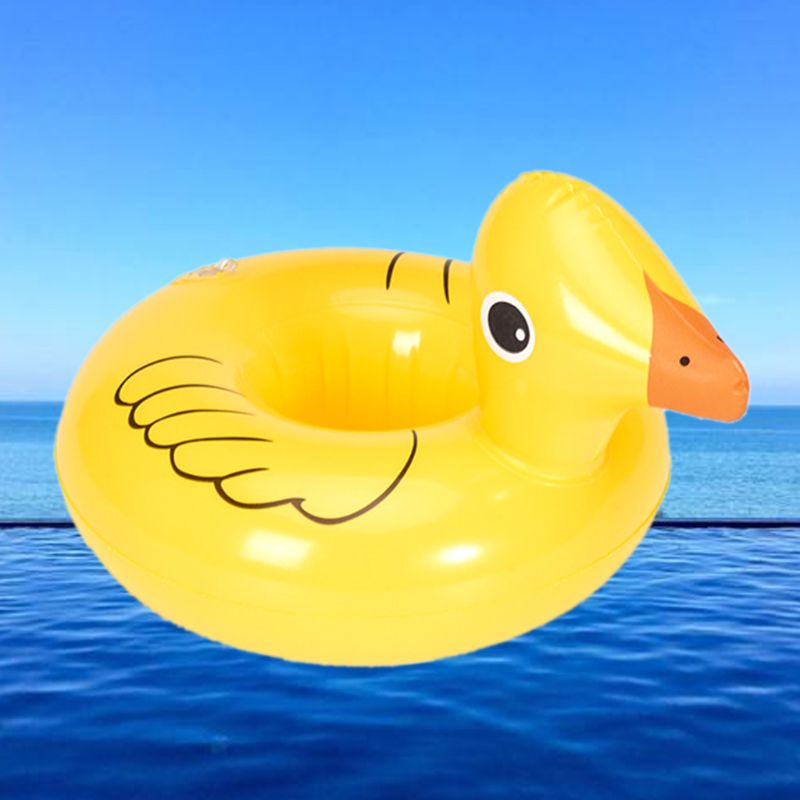 Children Toys Little Yellow Duck Cup Holder Inflatable Coaster Floating Drink Bottle Storage Rack