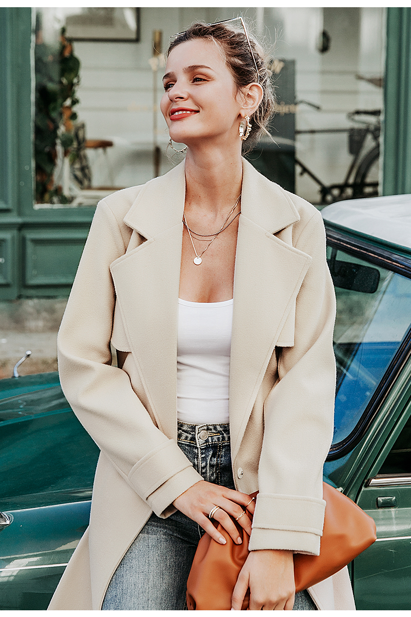 Simplee Wool blend winter tweed coat women Long sleeve elegant sash belt female outwear coat Autumn winter streetwear coat 6
