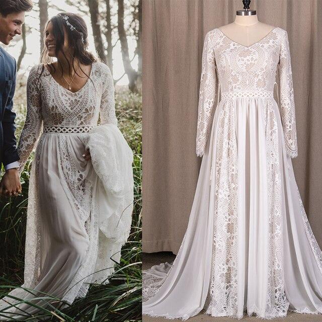 Hippie Beach Boho Elopement Photoshoot Wedding Dress V Neck Lace Chiffon A Line Seaside 2021 Long Sleeve Big Sizes Bridal Gown 1
