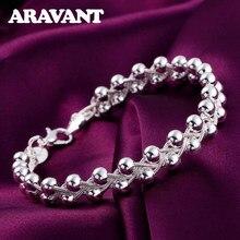 925 الفضة نسج الخرز سلسلة سوار للنساء هدايا الزفاف مجوهرات الأزياء