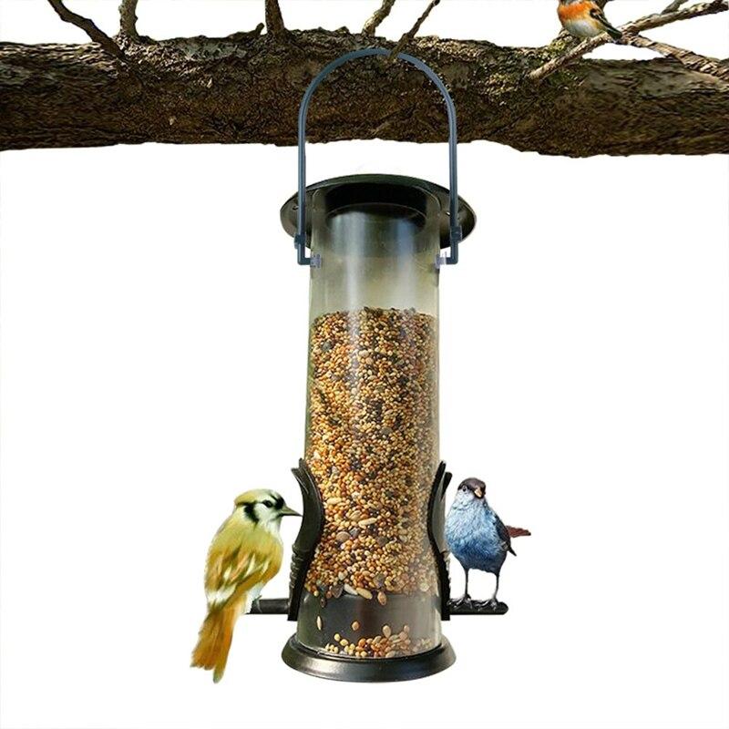 Ao ar livre hangable alimentador de pássaro clássico árvore pendurado dispensador comida para aves à prova dwaterproof água plástico alimentador pássaro para varanda ao ar livre