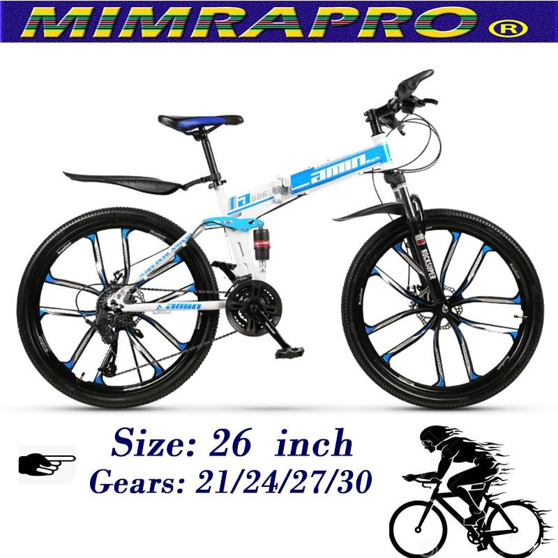 MIMRAPRO Blue 26 Inch Folding Bike High-carbon Steel Mountain Bike Bicycles Can Choose 21/24/27/30 Speed Disc Brakes MTB Bikes