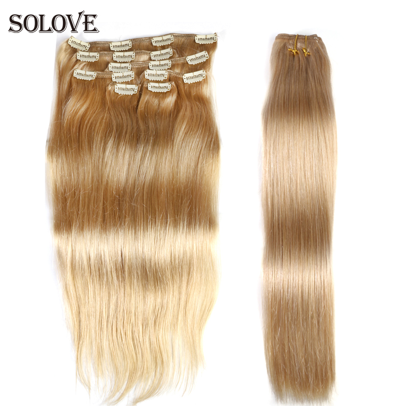 """100g Full Head Brazilian Machine Made Remy Hair #60 Blonde 12""""-24""""Natural Straight Clip In Human Hair Extensions"""
