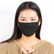 Черные хлопковые противопылевые маски для лица, велосипедная маска для лица, маска для рта унисекс, мотоциклетная маска для лица
