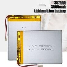 Baterias recarregáveis do polímero do lítio das pilhas 3.7 357090 mah de 3500 v lipo para suo lixin s18 7/8/9 inch tablet pc mp3 brinquedos elétricos