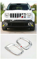 ABS Chrome Outside Front Fog Light Cover Trim 2pcs for Jeep Renegade 2015 2018|Chromium Styling|   -