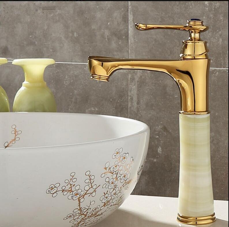 Vidric Tall Basin Faucet Gold Crane Brass Jade Body Bathroom Basin Faucet Deck Mount Counter top Water Mixer wash basin Tap