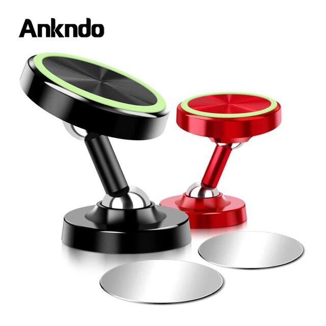 Suporte luminoso de carro magnético para celulares, ajustável, de duas vias, para carro, 360 graus, ímã universal, suporte de mesa