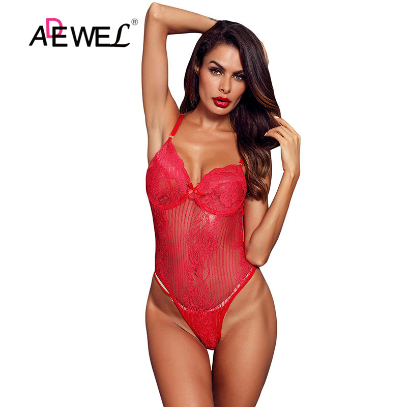 ADEWEL  Sexy Lingerie Underwear White Red Black Yummy Scalloped Lace Teddy Lingerie Deep V-neck Lace Hollow Out See Bodysuits