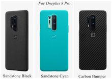 Officiële Case Voor Oneplus 8 7 8T Pro Zandsteen Siliconen Koolstofvezel Officiële Back Cover