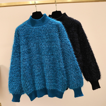 Women Autumn Winter Sweaters Plus Size Turtleneck Casual Japan Style Lazy Outer Wear Plumpy Pullovers Female Tops Blue GX1232
