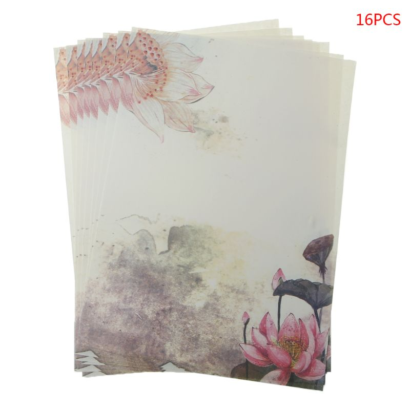 16Pcs/pack Beautiful Chinese Style Letter Paper Ink Painting Writing Students Stationery Office Tools LX9A