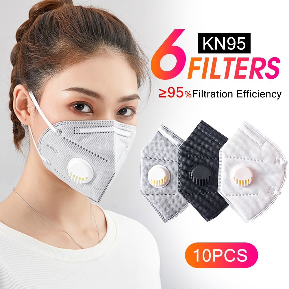10pcs Face Mask KN95 6 Layers Filters Mascherina Anti Infection Anti Flu Mask Particulate Respirator Like Kf94 N95