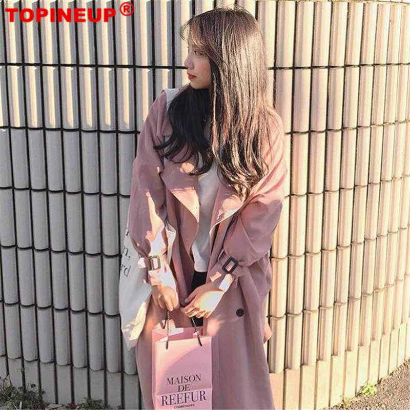 Korean Chic Sweet Double-breasted Long Windbreaker Solid Pink Color 2019 Fashion Hot Women   Trench   Coat