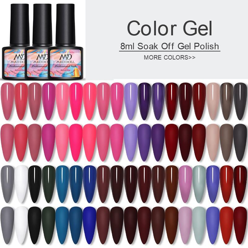 MAD DOLL 1 Bottle 8ml Color Nail Gel Polish One-shot Long Lasting Soak Off UV Gel Polish Varnish For Nail Art DIY Design
