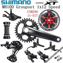 SHIMANO DEORE XT M8100 Groupset 32T 34T 36T 170 175mm guarnitura Mountain Bike Groupset 1x12 velocità CSMZ90 M8100 deragliatore posteriore