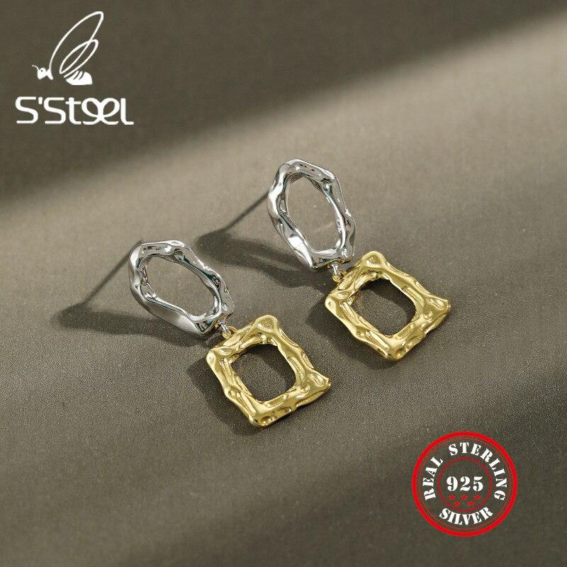 S'STEEL Irregular Dangle Drop Earrings 925 Sterling Silver Earrings For Women Pendientes Plata De Ley Mujer Minimalist Jewelry