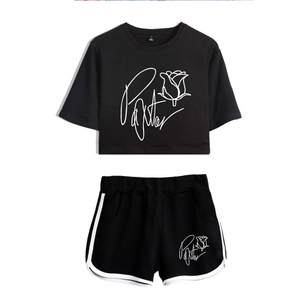 Frdun Tommy New 2020 Web celebrity payton moormeier PYTN Print Women Two Piece Set Shorts+lovely T-shirt Hot Sale Clothes(China)