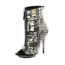 Crystal Shiny Booties Peep Toe Zip Up Stiletto High Heels Short Boots Rhinestone Bling Sequined Women Shoes Manufacturer