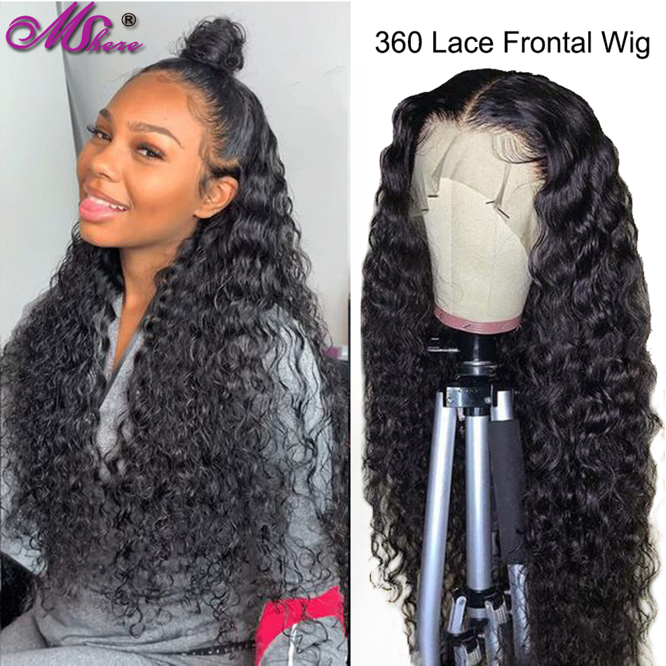 360 Lace Frontal Wigs Wth Baby Hair Peruvian Water Wave Human Hair Wigs For Black Women Pre Plucked Mshere Remy Lace Front Wig
