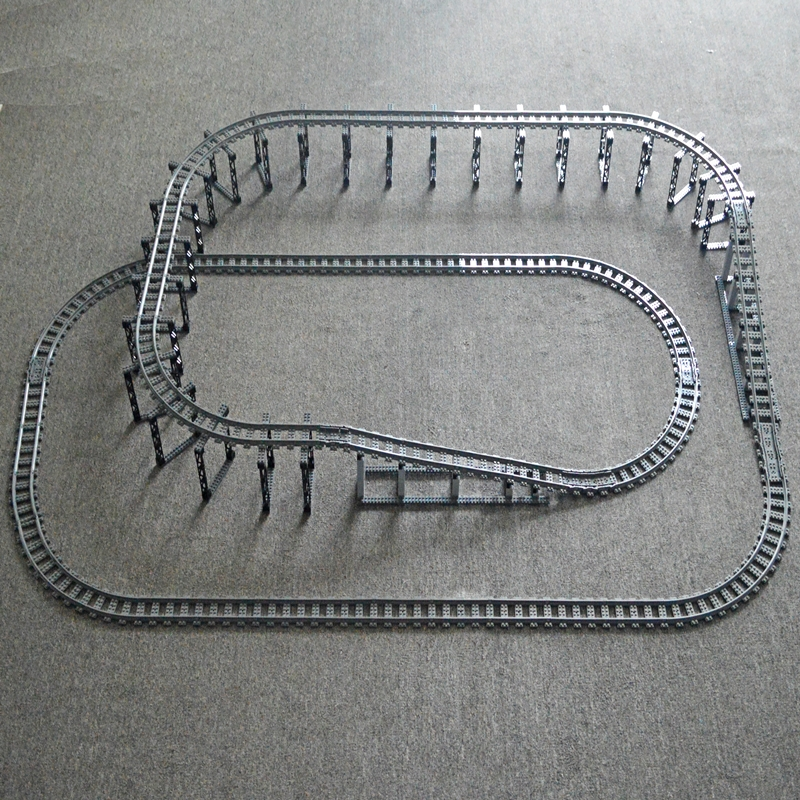 City Train Uphill Bridge Tracks Rails Trein Double Layer Track  Straight Curved Rail Building Block Compatible LegoINGlys