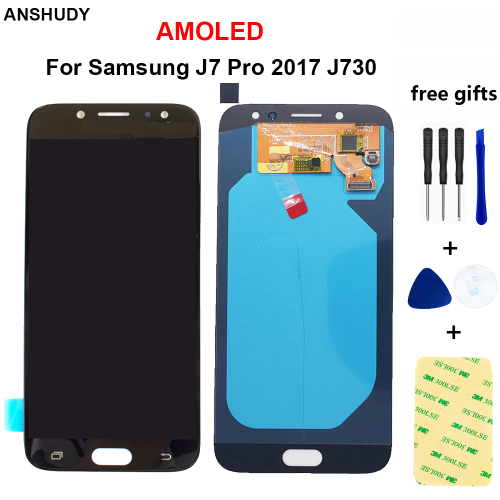 AMOLED For Samsung Galaxy <font><b>J7</b></font> <font><b>Pro</b></font> 2017 <font><b>LCD</b></font> Display Touch <font><b>Screen</b></font> Digitizer Assembly For Samsung J730 J730F <font><b>Replacement</b></font> Replace image