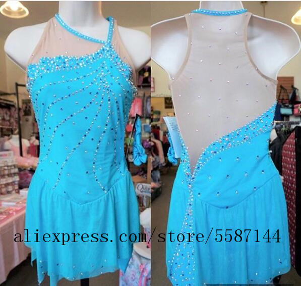 Blue Women Ice Skating Dress Girls Competition Ice Skating Dresses Custom Ice Skating Clothing For Women Free Shipping