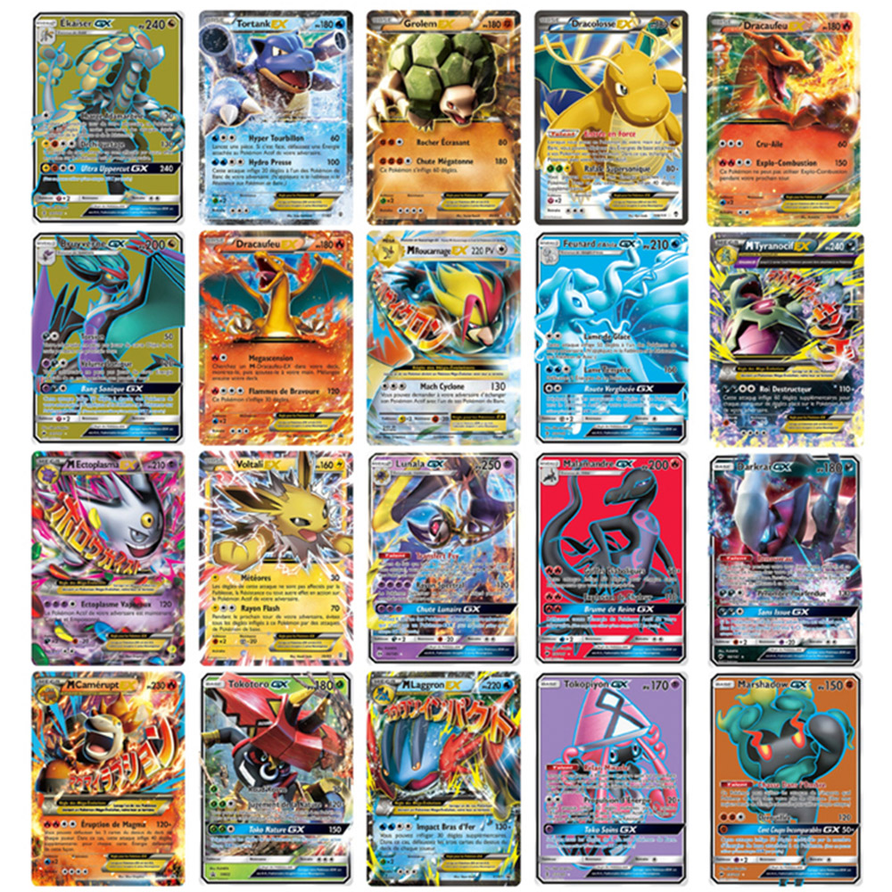 TOMY 120 PCS Pokemon French Card Lot Featuring 80tag Team 20mega 20 Ultra Beast Gx