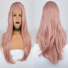 Wig Synthetic-Hair Rose-Gold Lace-Front Bombshell Hairline Heat-Resistant-Fiber Natural